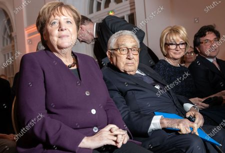 (L-R) German Chancellor Angela Merkel and  former U.S state secretery Henry Kissinger, during the Henry Kissinger Prize event at the Great Orangery at Charlottenburg Palace in Berlin, Germany, 21 January 2020. The Henry Kissinger Prize is awarded by the American Academy in Berlin for exceptional contributions to transatlantic relations.
