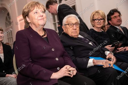 (L-R) German Chancellor Angela Merkel and  former U.S State Secretary Henry Kissinger, during the Henry Kissinger Prize event at the Great Orangery at Charlottenburg Palace in Berlin, Germany, 21 January 2020. The Henry Kissinger Prize is awarded by the American Academy in Berlin for exceptional contributions to transatlantic relations.
