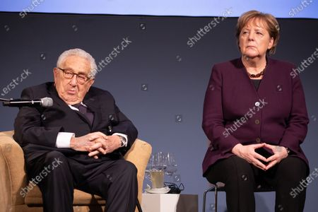 Former U.S State Secretary Henry Kissinger (L) and German Chancellor Angela Merkel (R) attend the Henry Kissinger prize event at the Great Orangery at Charlottenburg Palace in Berlin, Germany, 21 January 2020. The Henry Kissinger Prize is awarded by the American Academy in Berlin for exceptional contributions to transatlantic relations.