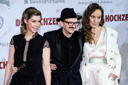 German actress Brigitte Zeh, German actor Milan Peschel and German actress Jeanette Hain pose on the red carpet of the film premiere for 'Die Hochzeit' (lit.: The Wedding) at the Zoo Palast cinema in Berlin, Germany, 21 January 2020. The movie will be screened German cinemas from 23 January 2020.