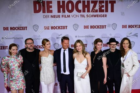 The cast of the movie with  German actress Katharina Schuettler, Bugarian-German actor Samuel Finzi, German actress Lilli Schweiger, German actor Til Schweiger, German actress Stefanie Stappenbeck, German actress Brigitte Zeh, German actor Milan Peschel and German actress Jeanette Hain pose on the red carpet of the film premiere for 'Die Hochzeit' (lit.: The Wedding) at the Zoo Palast cinema in Berlin, Germany, 21 January 2020. The movie will be screened German cinemas from 23 January 2020.