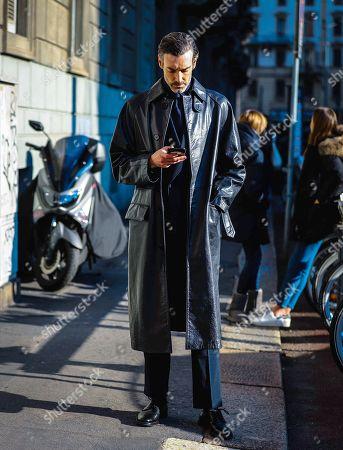 Editorial image of Street Style, Autumn Winter 2020, Milan Fashion Week Men's, Italy - 12 Jan 2020