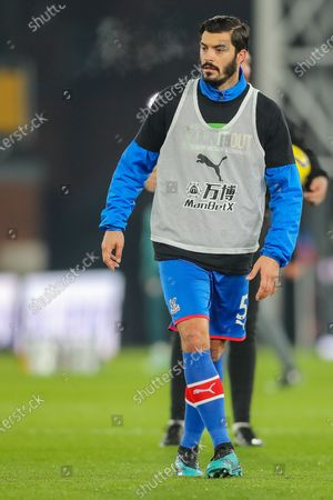 Crystal Palace defender James Tomkins (5) warms up prior to the Premier League match between Crystal Palace and Southampton at Selhurst Park, London