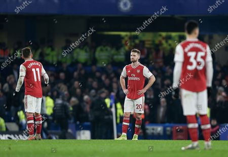 Stock Image of Shkodran Mustafi of Arsenal looking dejected afer his mistake lead to the opening goal