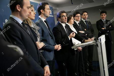(Left to right): Philippe Paul, Ronan Le Gleut, Fabien Di Filippo, Virginie Duby-Muller, Guillaume Peltier, Christian Jacob, Annie Genevard, Pierre Henri Dumont, Raphael Schellenberger and Aurelien Pradie.