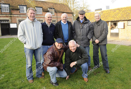 Southampton's 1976, FA Cup Final winning team meet up at Mick Channon's racing stables in West Ilsley. Standing L-R, Nick Holmes, Hugh Fisher, Peter Rodrigues, Racehorse trainer,  Mick Channon, Paul Gilchrist. Kneeling L-R, David Peach and David Steele.