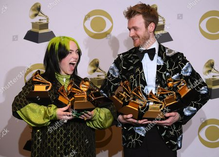 Billie Eilish and Finneas O'Connell with her Grammys for Album of the Year - When We All Fall Asleep, Where Do We Go..., Best New Artist, Best Pop Solo Performance - Bad Guy, Best Pop Vocal Album - When We All Fall Asleep, Where Do We Go and Record of the Year - Bad Guy
