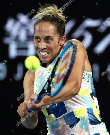 Stock Picture of Madison Keys of the U.S. makes a backhand return to Arantxa Rus of the Netherlands during their second round singles match at the Australian Open tennis championship in Melbourne, Australia