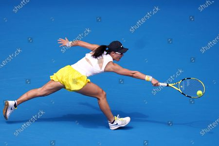 Saisai Zheng of China in action against Naomi Osaka of Japan during their second round match at the Australian Open tennis tournament at Melbourne Park in Melbourne, Australia, 22 January 2020.