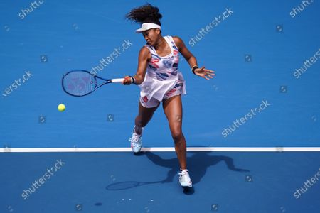 Naomi Osaka of Japan in action against Saisai Zheng of China during their second round match at the Australian Open tennis tournament at Melbourne Park in Melbourne, Australia, 22 January 2020.