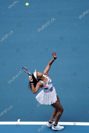 Stock Picture of Naomi Osaka of Japan in action against Saisai Zheng of China during their second round match at the Australian Open tennis tournament at Melbourne Park in Melbourne, Australia, 22 January 2020.