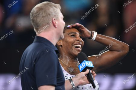 Serena Williams of the USA (right) is interviewed by former tennnis player Jim Courier after winning her second round match against Tamara Zidansek of Slovenia on day three of the Australian Open tennis tournament at Rod Laver Arena in Melbourne Australia, 22 January 2020.