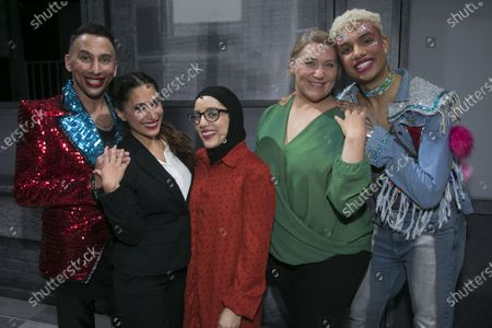 Bianca Del Rio (Hugo/Loco Chanelle), Preeya Kalidas (Miss Hedge), Hiba Elchikhe (Pritti Pasha), Melissa Jacques (Margaret) and Noah Thomas (Jamie) backstage