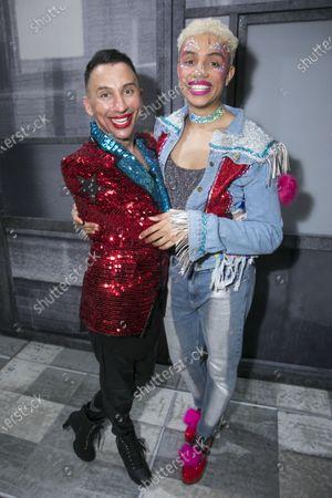 Bianca Del Rio (Hugo/Loco Chanelle) and Noah Thomas (Jamie) backstage