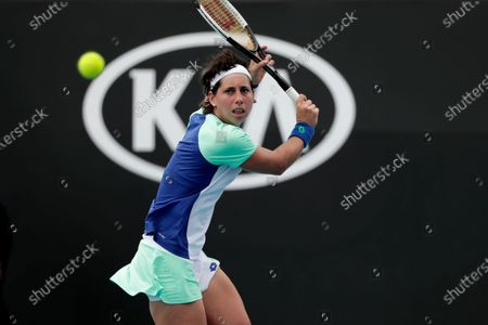 Carla Suarez Navarro of Spain in action during her women's singles second round match against Aryna Sabalenka of Belarus at the Australian Open Grand Slam tennis tournament in Melbourne, Australia, 22 January 2020.