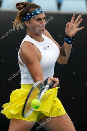 Aryna Sabalenka of Belarus in action during her women's singles second round match against Carla Suarez Navarro of Spain at the Australian Open Grand Slam tennis tournament in Melbourne, Australia, 22 January 2020.