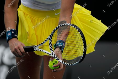Close view of Aryna Sabalenka of Belarus in action during her women's singles second round match against Carla Suarez Navarro of Spain at the Australian Open Grand Slam tennis tournament in Melbourne, Australia, 22 January 2020.