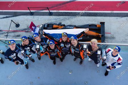 Stock Image of the LMP2 podium, Roman Rusinov, James French, Leonard Hoogenboom, Aidan Read, Nicholas Foster, Roberto Merhi, Jack Manchester, Harry Tincknell, Ben Barnicoat