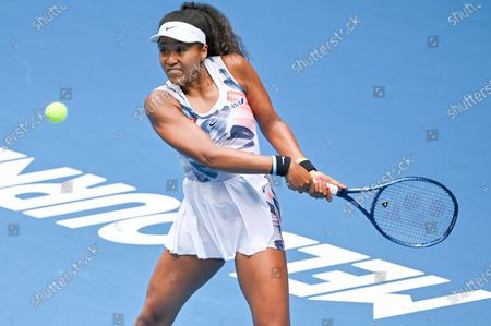 3rd seed NAOMI OSAKA (JPN) in action against SAISAI ZHENG (CHN) on Rod Laver Arena in a Women's Singles 2nd round match on day 3 of the Australian Open in Melbourne, Australia. OSAKA won 62 64