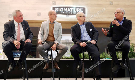 Stock Picture of IMAGE DISTRIBUTED FOR LG - Noted food journalist and author Mark Bittman, right, speaks at the Signature Kitchen Suite booth during the 2020 Kitchen & Bath Industry Show to engage in lively conversation on culinary trends for today's Technicurean home chef on in Las Vegas. Also pictured left to right, Zach Elkin, General Manager of Signature Kitchen Suite, Matthew Quinn, Interior Designer, and Brian Pagel, Executive Vice President of KBIS