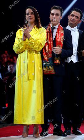 Pauline (L) and Louis Ducruet (C) attend the gala of the 44th Monte-Carlo International Circus Festival in Monaco, 21 January 2020.