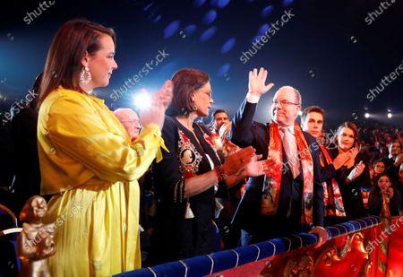 Princess Stephanie (2-L), Pauline Ducruet (L), Prince Albert II of Monaco(3-L) and Louis Ducruet (4-L) attend the gala of the 44th Monte-Carlo International Circus Festival in Monaco, 21 January 2020.
