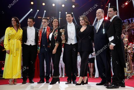 Prince Albert II of Monaco (2-R), Princess Stephanie (3-4), Pauline (L) and Louis Ducruet (3-L) and Camille Gottliebt (3-L) pose during the gala of the 44th Monte-Carlo International Circus Festival in Monaco, 21 January 2020.