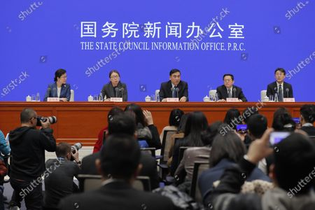 Li Bin (C), Vice minister of the National Health Commission, speaks about prevention and control of the new coronavirus-related pneumonia during a press conference held by the State Council Information Office, in Beijing, China, 22 January 2020.