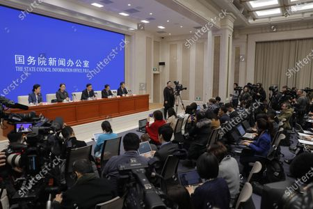 Li Bin (3-L), Vice minister of the National Health Commission, speaks about prevention and control of the new coronavirus-related pneumonia during a press conference held by the State Council Information Office, in Beijing, China, 22 January 2020. According to media reports, at least six people have died, and 300 people are confirmed infected by a new respiratory virus which was first detected in Wuhan, China. The virus, called the coronavirus, can be passed between humans and has spread to the USA, Thailand, South Korea, Japan and Taiwan.