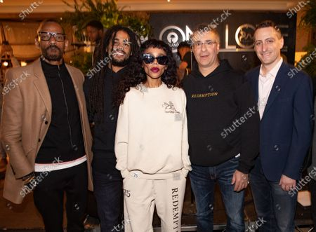 Island Records President Darcus Beese, Skip Marley, Cedella Marley, CEO of Primary Wave Music Larry Mestel and Head of Partnerships for Mastercard, Michael Goldstein