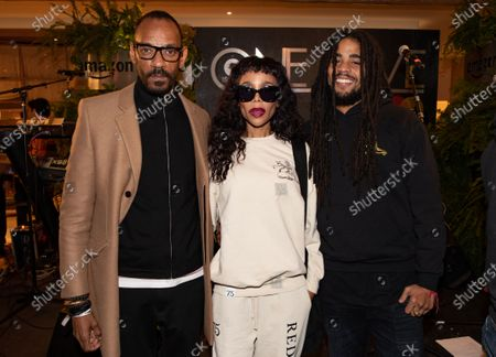 Stock Picture of Island Records President Darcus Beese, Cedella Marley and son Skip Marley