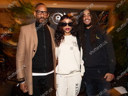 Stock Photo of Island Records President Darcus Beese, Cedella Marley and son Skip Marley