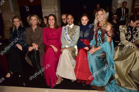 Sylvie Tellier, Julie De Bona, Clemence Botino, Miss France 2020, Deborah Francois and Sandy Heribert
