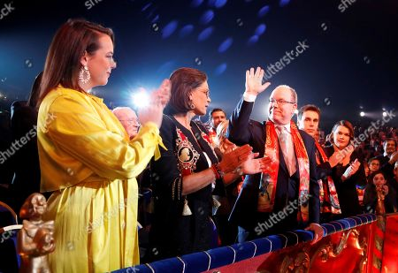 Prince Albert II of Monaco and Princess Stephanie pose with the Martinez brothers during the gala of the 44th Monte-Carlo International Circus Festival in Monaco. Princess Stephanie, second left, Pauline Ducruet, left, Prince Albert II of Monaco, Louis Ducruet and Camille Gottlieb attend the gala of the 44th Monte-Carlo International Circus Festival in Monaco