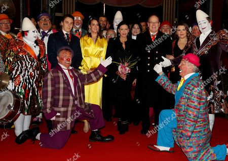Prince Albert II of Monaco and Princess Stephanie pose with the Martinez brothers during the gala of the 44th Monte-Carlo International Circus Festival in Monaco. Princess Stephanie, Pauline, second left, Louis Ducruet, left, Prince Albert II of Monaco and Camille Gottlieb attend the gala of the 44th Monte-Carlo International Circus Festival in Monaco