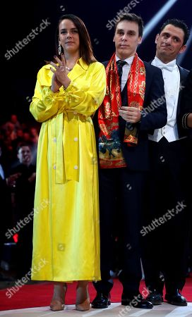 Prince Albert II of Monaco and Princess Stephanie pose with the Martinez brothers during the gala of the 44th Monte-Carlo International Circus Festival in Monaco. Pauline and Louis Ducruet attend the gala of the 44th Monte-Carlo International Circus Festival in Monaco