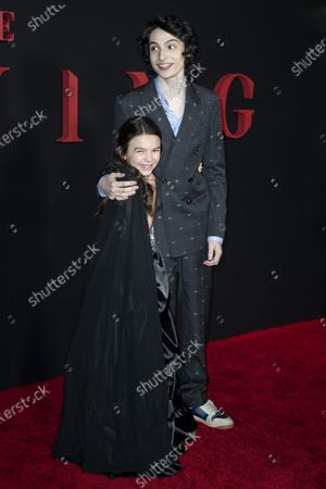 Brooklynn Prince (L) and Canadian actor Finn Wolfhard (R) pose on the red carpet prior to the premiere of Universal Picture film 'The Turning' at the TLC Chinese Theater in Hollywood, California, USA, 21 January 2020. The Turning is to be released in the the US on 24 January 2020.