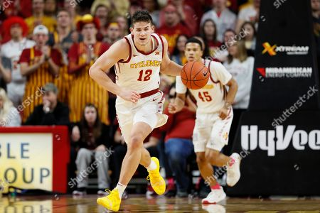 Iowa State forward Michael Jacobson (12) drives up court during the first half of an NCAA college basketball game against Oklahoma State, in Ames, Iowa