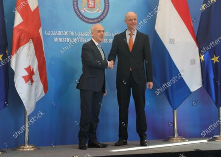 Georgian Foreign Minister David Zalkaliani (L) welcomes his Dutch counterpart Stef Blok (R), in Tbilisi, Georgia, 22 January 2020. Blok is on an official visit to Georgia.