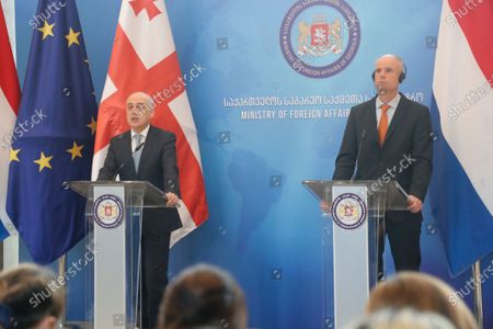 Georgian Foreign Minister David Zalkaliani (L) and his Dutch counterpart Stef Blok (R) attend a joint press conference, in Tbilisi, Georgia, 22 January 2020. Blok is on an official visit to Georgia.