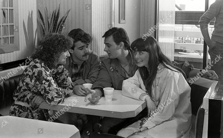 Ep 2517 Wednesday 15th May 1985 Andrea Clayton, as played by Caroline O'Neill, goes on a double date with Terry Duckworth, as played by Nigel Pivaro, with her friend Michelle Robinson, as played by Stephanie Tague, and Kevin Webster, as played by Michael Le Vell, at a burger bar.