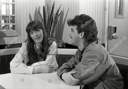 Ep 2517 Wednesday 15th May 1985 Andrea Clayton, as played by Caroline O'Neill, goes on a double date with Terry Duckworth, with her friend Michelle Robinson, and Kevin Webster, as played by Michael Le Vell, at a burger bar.