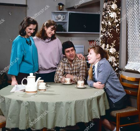 Andrea Clayton, as played by Caroline O'Neill, Connie Clayton, as played by Susan Brown, Harry Clayton, as played by Johnny Leeze, and Sue Clayton, as played by Jane Hazlegrove.
