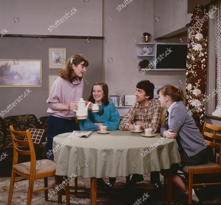 Connie Clayton, as played by Susan Brown, Andrea Clayton, as played by Caroline O'Neill, Harry Clayton, as played by Johnny Leeze, and Sue Clayton, as played by Jane Hazlegrove.