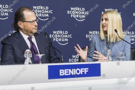 Senior Advisor to the US President, Ivanka Trump (R) talks to Marc Benioff, Chairman and Co-Chief Executive Officer, Salesforce, USA, during a press conference about skills for people during the 50th annual meeting of the World Economic Forum (WEF) in Davos, Switzerland, 22 January 2020. The meeting brings together entrepreneurs, scientists, corporate and political leaders in Davos under the topic 'Stakeholders for a Cohesive and Sustainable World' from 21 to 24 January 2020.