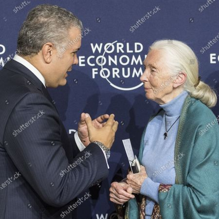 Jane Goodall, English primatologist and anthropologist (R) speaks to Ivan Duque, president of Colombia, during the 50th annual meeting of the World Economic Forum, WEF, in Davos, Switzerland, 22 January 2020. The meeting brings together entrepreneurs, scientists, corporate and political leaders in Davos from January 21 to 24.