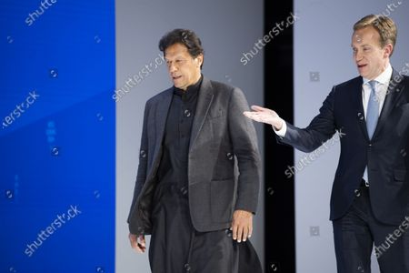 Imran Khan, Prime Minister of Pakistan (L) arrives with Borge Brende, president of WEF, for a plenary session during the 50th annual meeting of the World Economic Forum, WEF, in Davos, Switzerland, 22 January 2020. The meeting brings together entrepreneurs, scientists, corporate and political leaders in Davos from January 21 to 24.