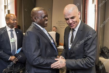 Swiss Federal councillor Alain Berset (R) meets with Mokgweetsi Masisi, president of Botswana, during the 50th annual meeting of the World Economic Forum (WEF) in Davos, Switzerland, 22 January 2020. The meeting brings together entrepreneurs, scientists, corporate and political leaders in Davos under the topic 'Stakeholders for a Cohesive and Sustainable World' from 21 to 24 January 2020.