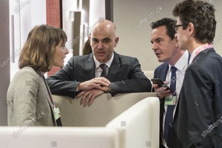 Stock Picture of Swiss Federal councillor Alain Berset (C) confers with his team between bilateral meetings, Emilia Pasquier (L) and Peter Lauener (R) and Michael Braendle (2-R), during the 50th annual meeting of the World Economic Forum (WEF) in Davos, Switzerland, 22 January 2020. The meeting brings together entrepreneurs, scientists, corporate and political leaders in Davos under the topic 'Stakeholders for a Cohesive and Sustainable World' from 21 to 24 January 2020.