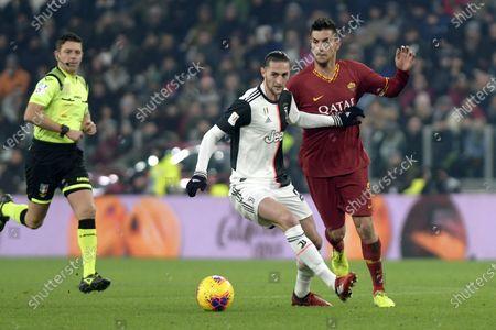 22nd January 2020; Allianz Stadium, Turin, Italy; Coppa Italia Football, Juventus versus Roma; Adrien Rabiot of Juventus challenges Lorenzo Pellegrini of AS Roma